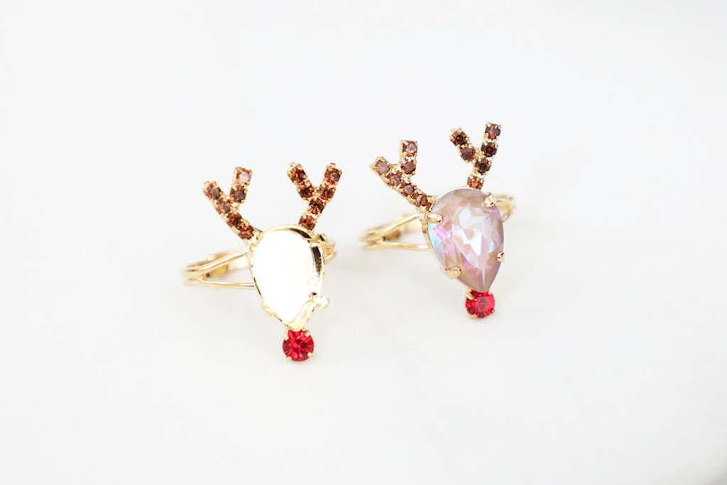 14mm x 10mm Pear | Red Nose Reindeer Crystal Rhinestone Adjustable Ring | One Piece