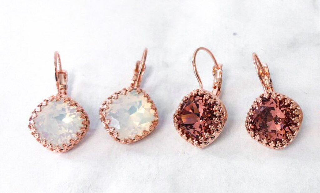 2 Pairs   12mm Square Rose Gold Crown Earrings   Finished