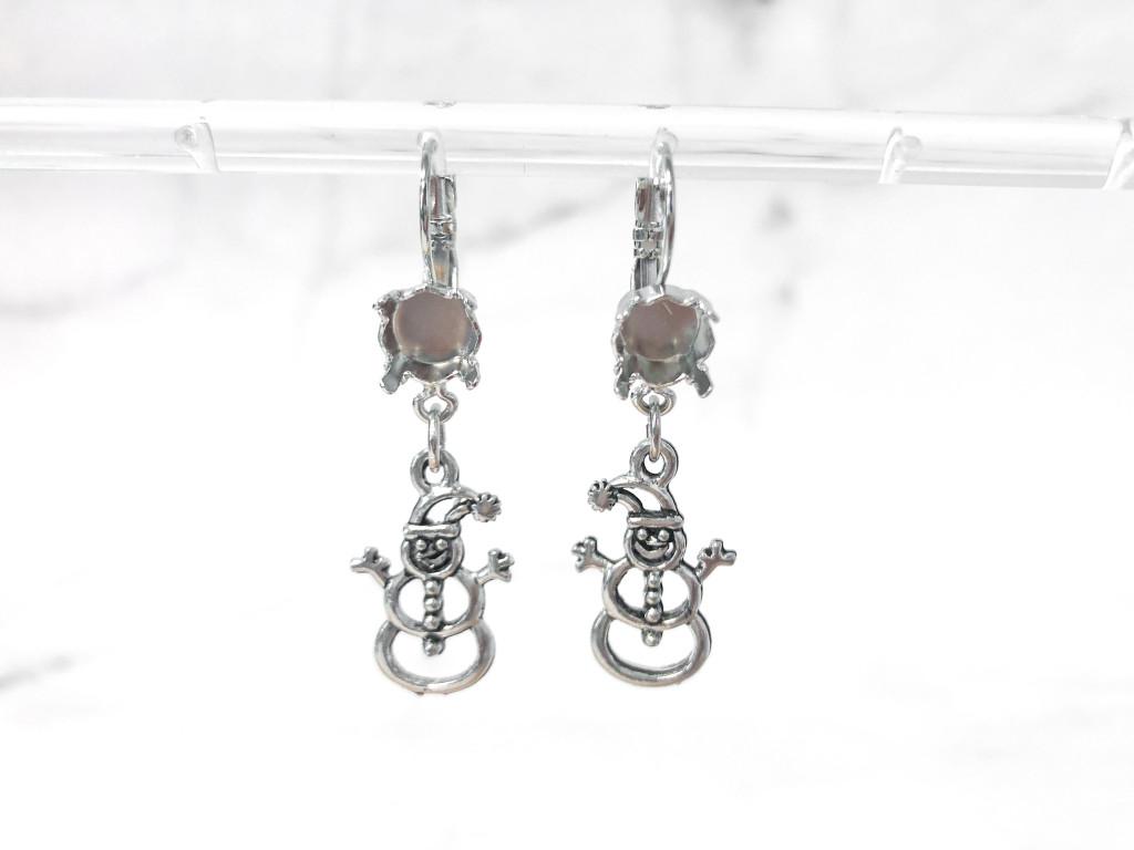 8.5mm | Snowman Drop Earrings | One Pair