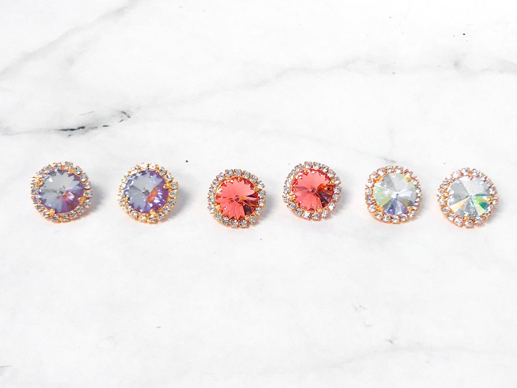 3 Pairs | 14mm Rose Gold Crystal Halo Stud Earrings | Finished