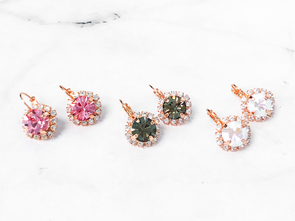 3 Pairs | 11mm Rose Gold Crystal Halo Lever Earrings | Finished