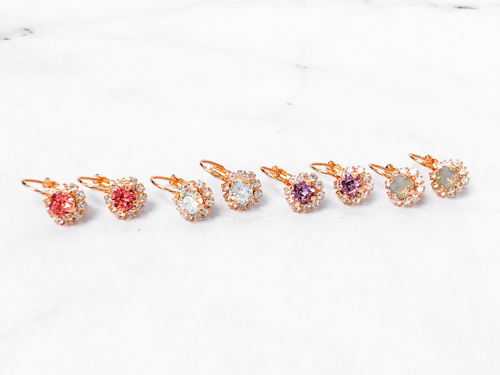 4 Pairs | 6mm Rose Gold Crystal Halo Lever Earrings | Finished