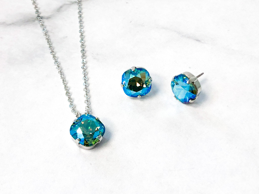 10mm Square Light Sapphire Shimmer Jewelry Set
