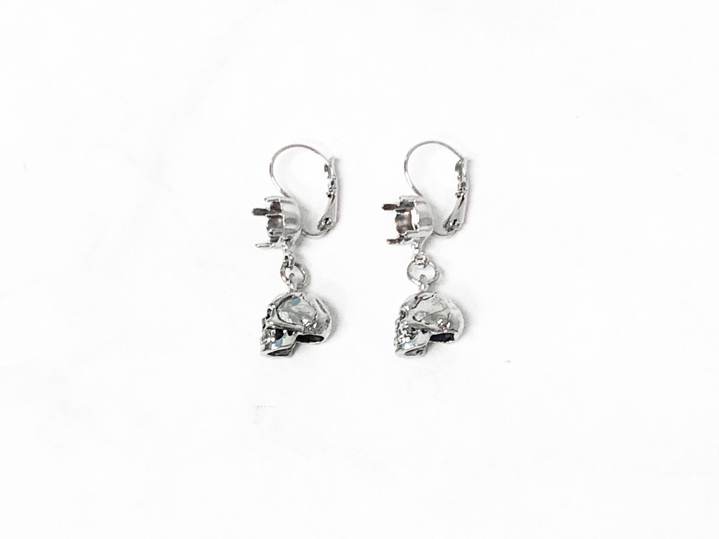 8.5mm | One Setting Drop & Skull Charm Earrings | One Pair