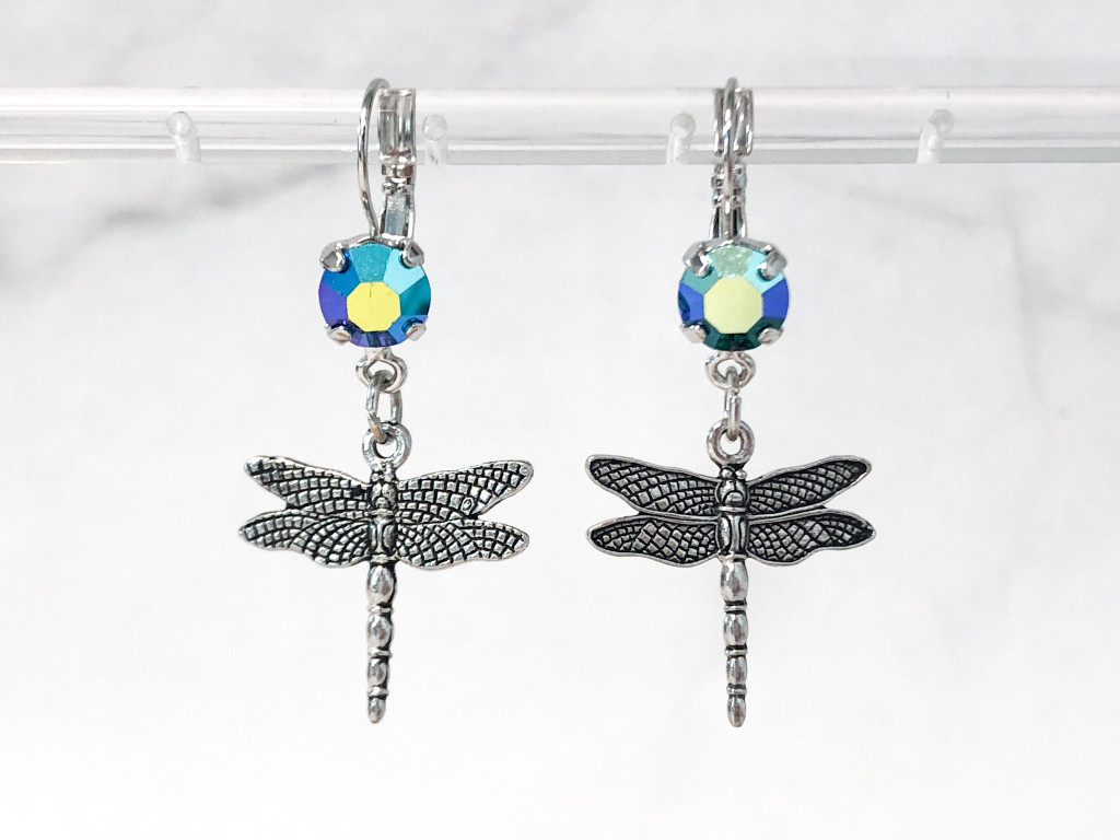 Dragonfly Charm Earrings   Vintage Emerald AB