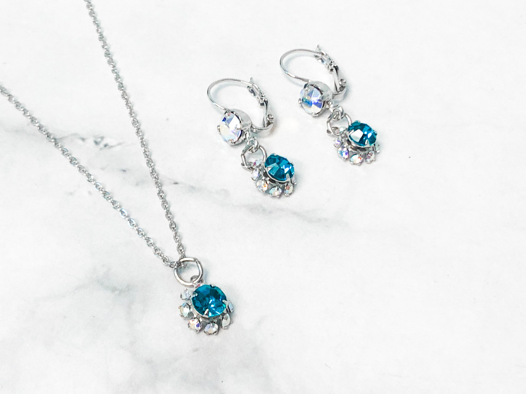 Blue Zircon Flower Earring and Necklace Set made with Swarovski Crystal