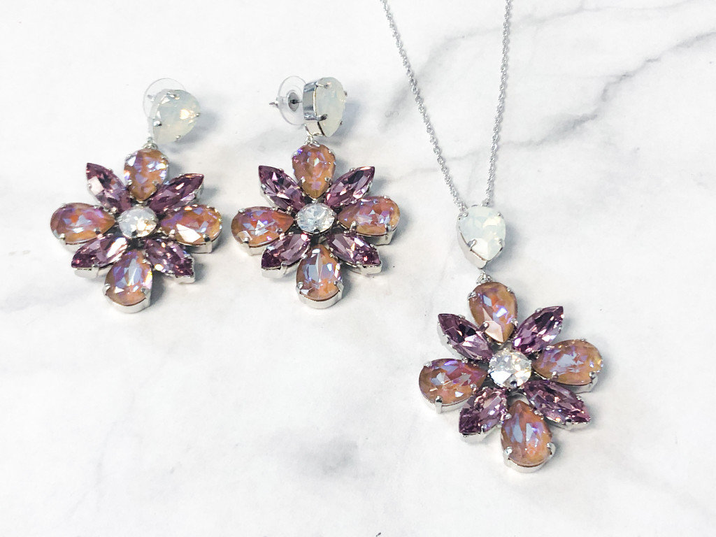 One of a Kind   Floral Statement Earrings and Necklace Set