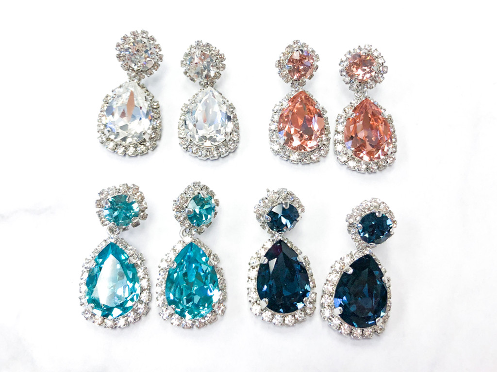 4 Pairs | 8.5 & 18x13mm Pear Crystal Halo Earrings | Finished
