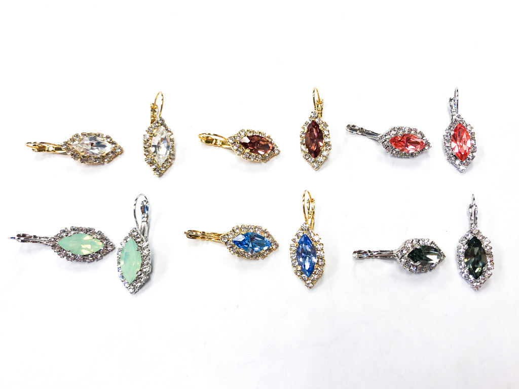 6 Pairs | Navette Crystal Halo Earrings | Finished