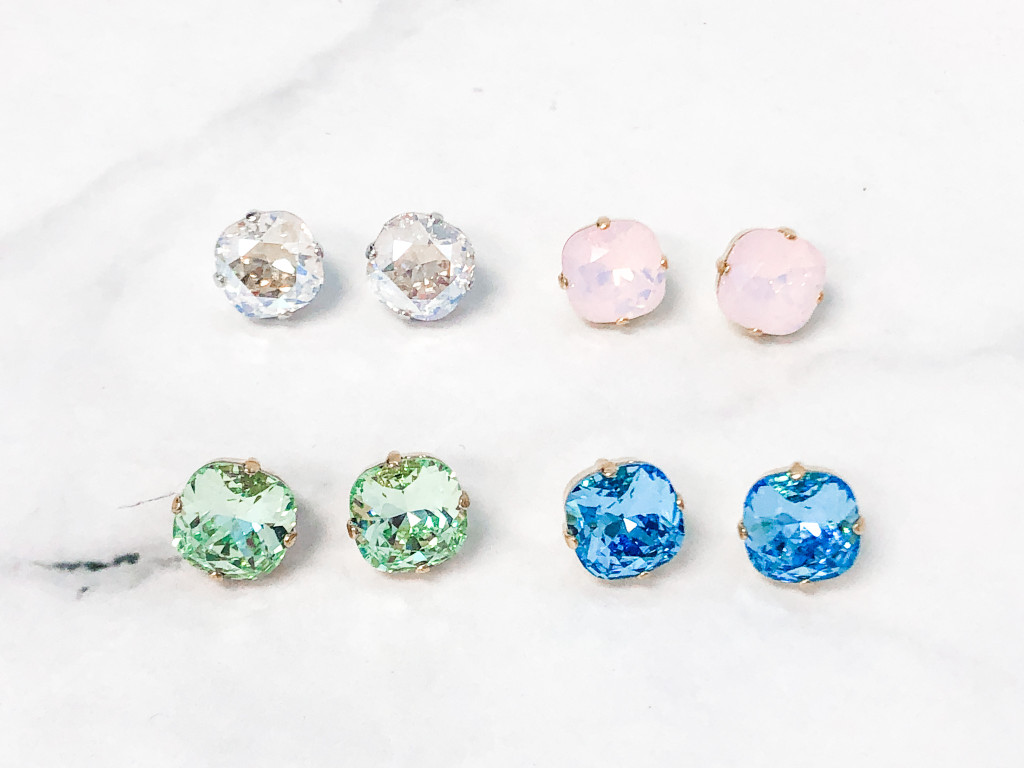 4 Pairs | 12mm Square Stud Earrings Lot A | Finished