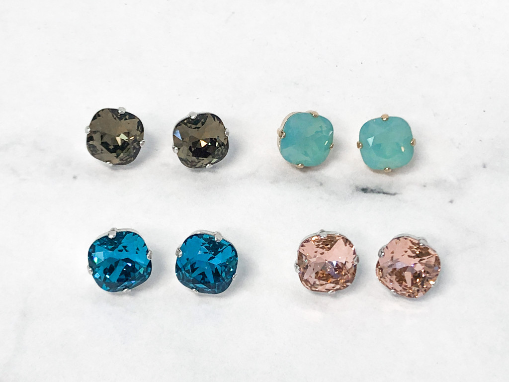 4 Pairs | 12mm Square Stud Earrings Lot B | Finished