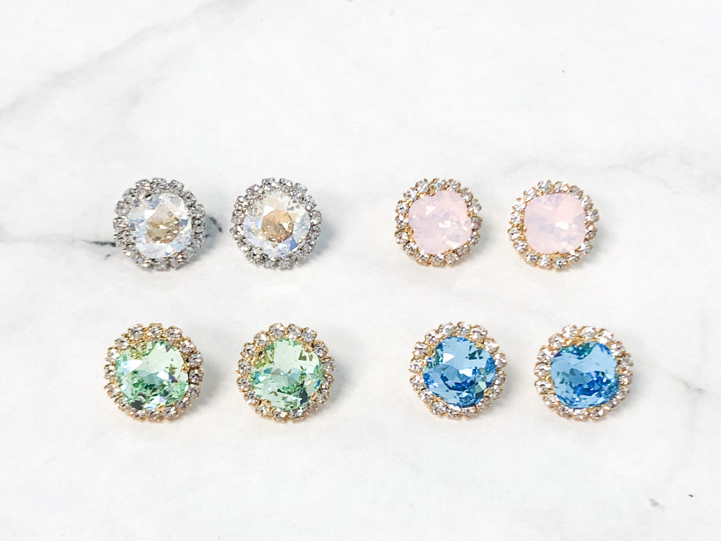 4 Pairs | 12mm Square Crystal Halo Earrings Lot A | Finished