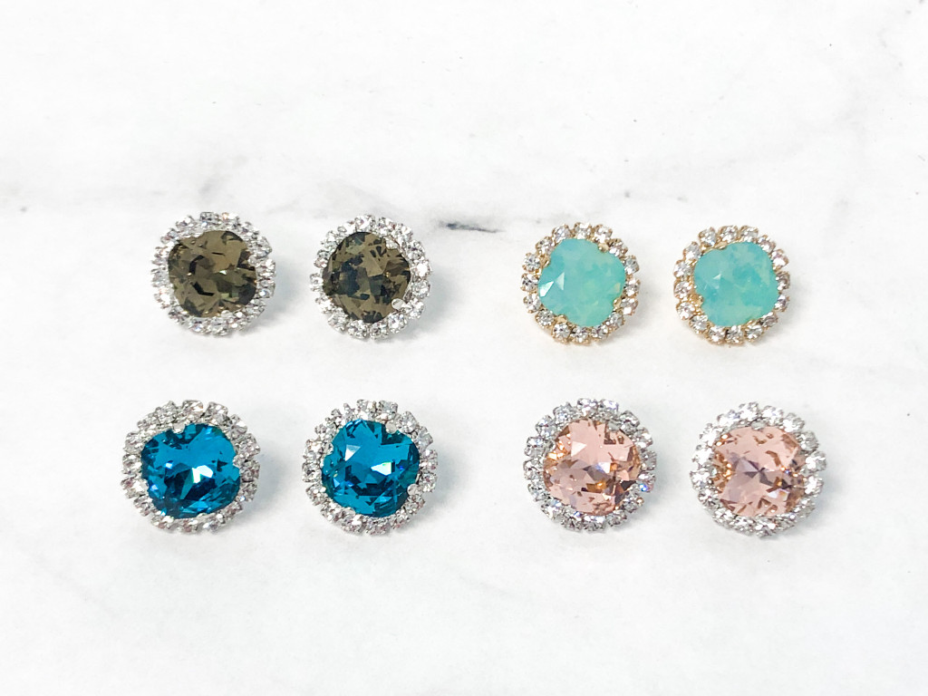 4 Pairs | 12mm Square Crystal Halo Earrings Lot B | Finished
