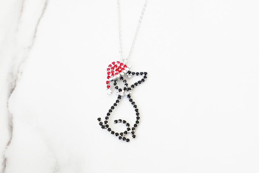 Dog With Santa Hat Crystal Rhinestone Necklace | One Piece
