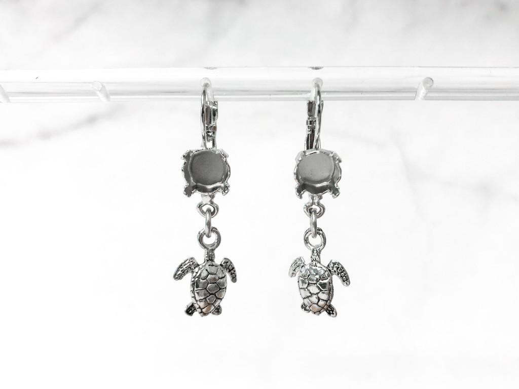 8.5mm | One Setting Drop & Turtle Charm Earrings | One Pair