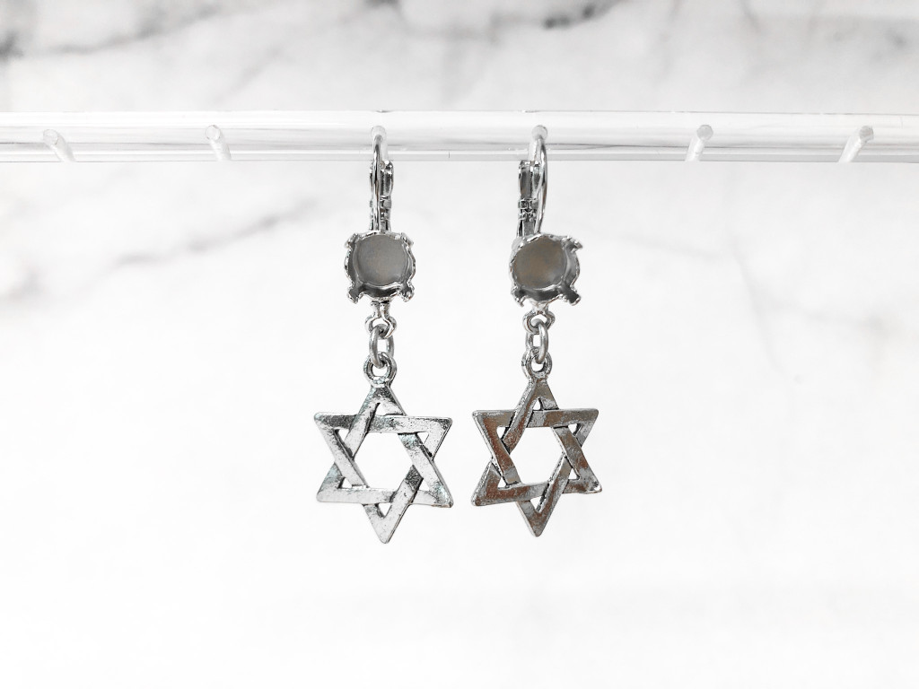8.5mm | One Setting Drop & Star of David Charm Earrings | One Pair