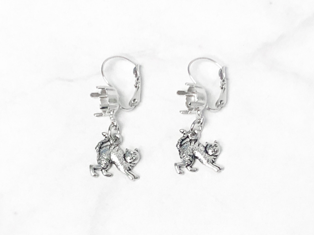 8.5mm | One Setting Drop & Cat Charm Earrings | One Pair