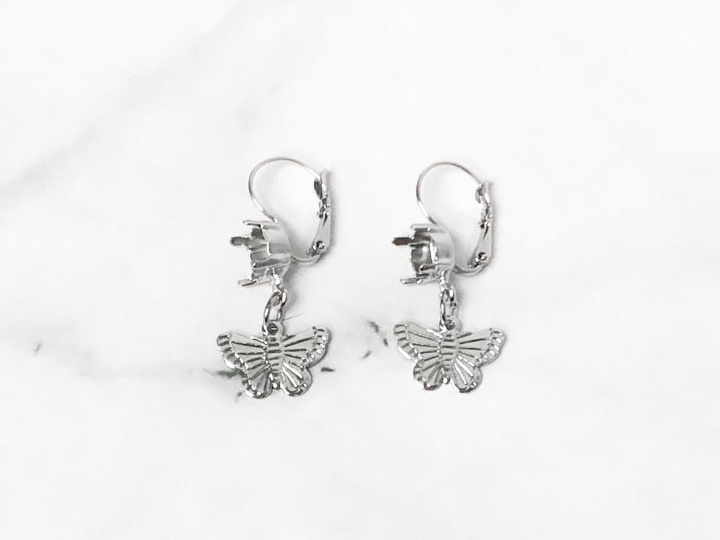 8.5mm | One Setting Drop & Butterfly Charm Earrings | One Pair