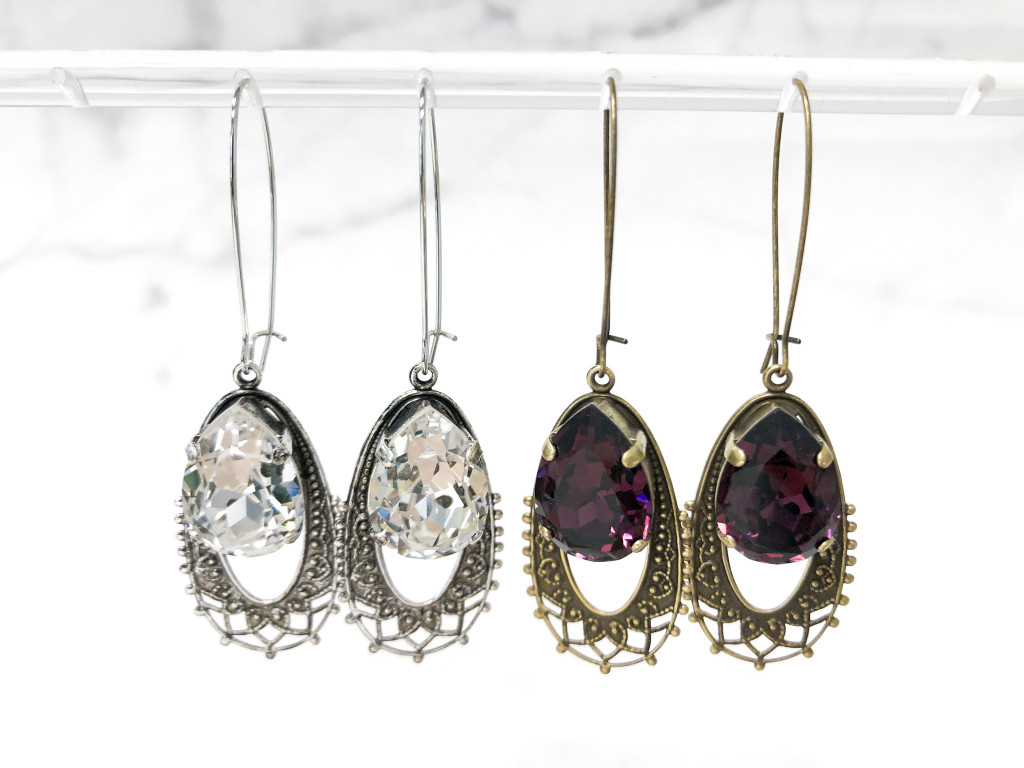 2 Pairs   18x13mm Pear Filigree Earrings   Finished