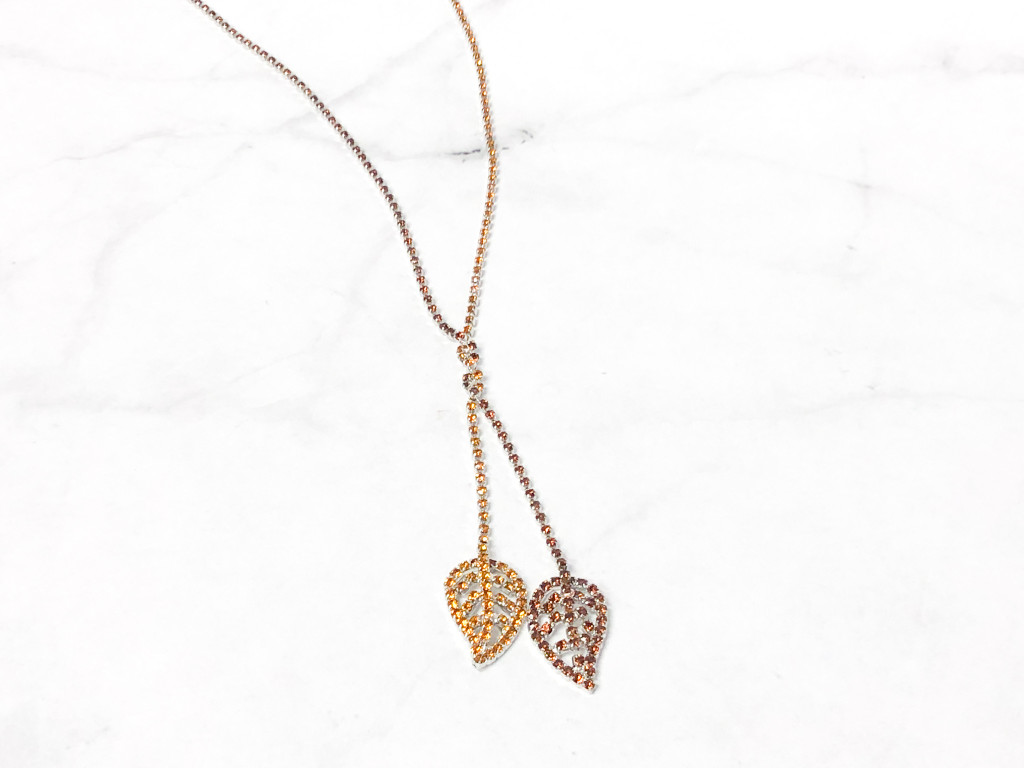 One of a Kind | Double Leaf Rhinestone Necklace