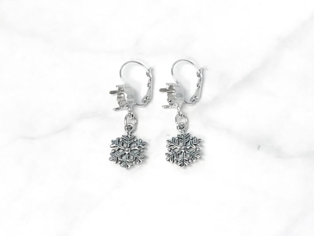 8.5mm   Fancy Snowflake Drop Earrings   One Pair