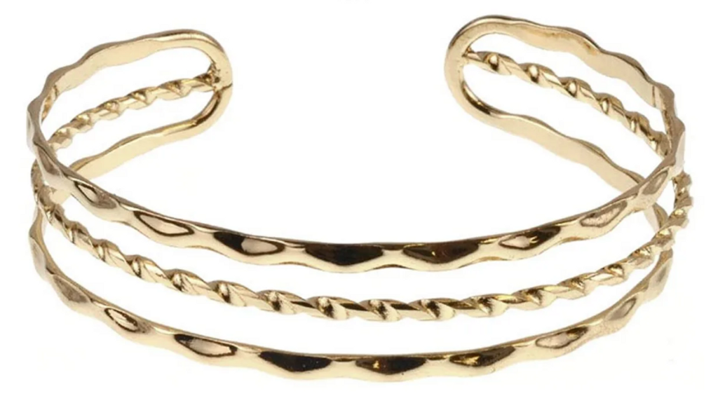 Charming Charlie 4-Row Hammered Open Cuff Bangle Bracelet MSRP $14 | 1 Piece