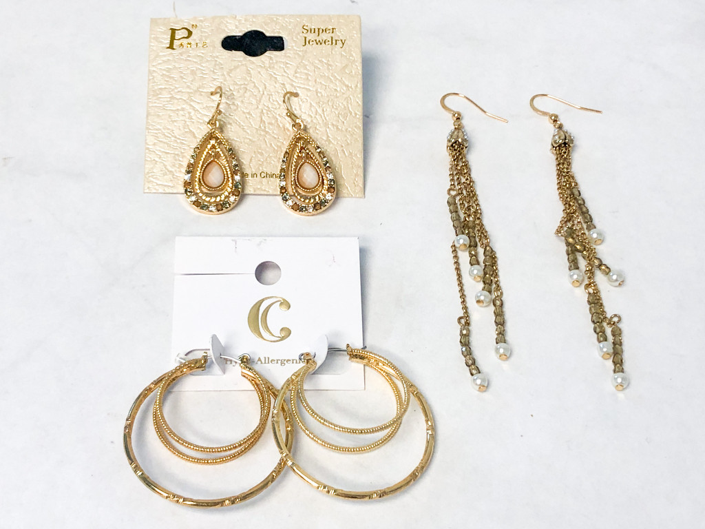 Assorted Gold Earrings Lot | 3 Pairs