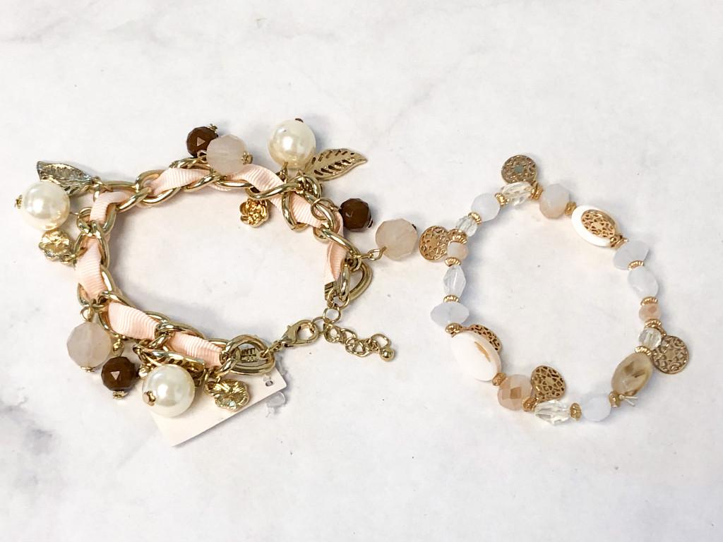 Cream Beaded Bracelets Lot | 2 Pieces