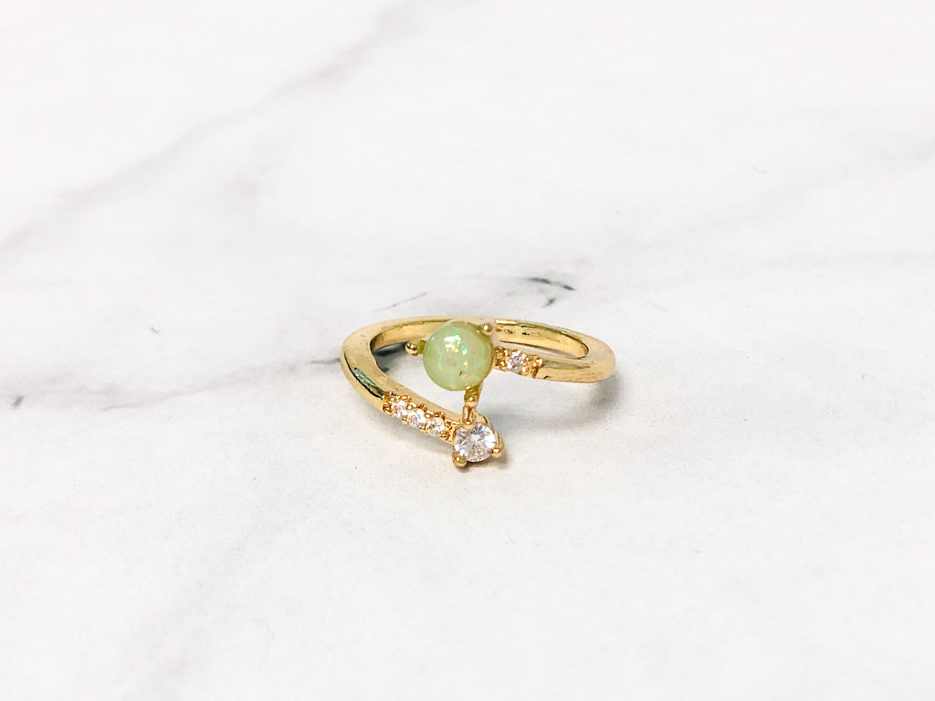 Adjustable Opal and CZ Ring   Size 6