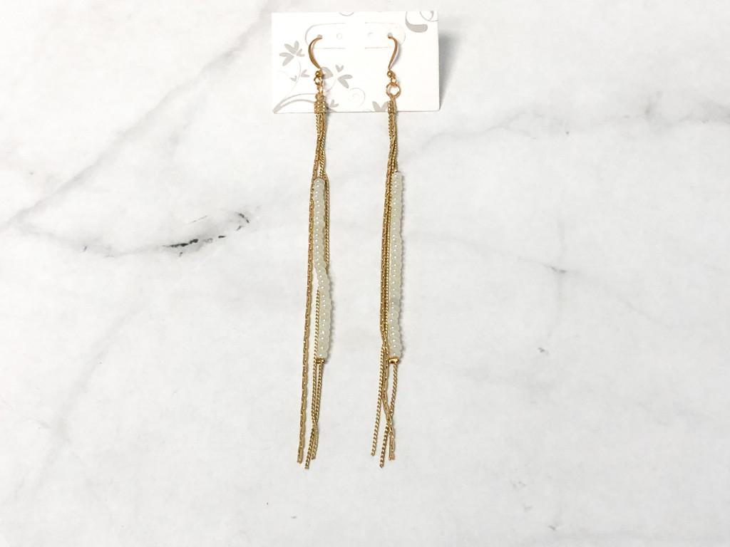 Beaded Pearl Shoulder Duster Earrings