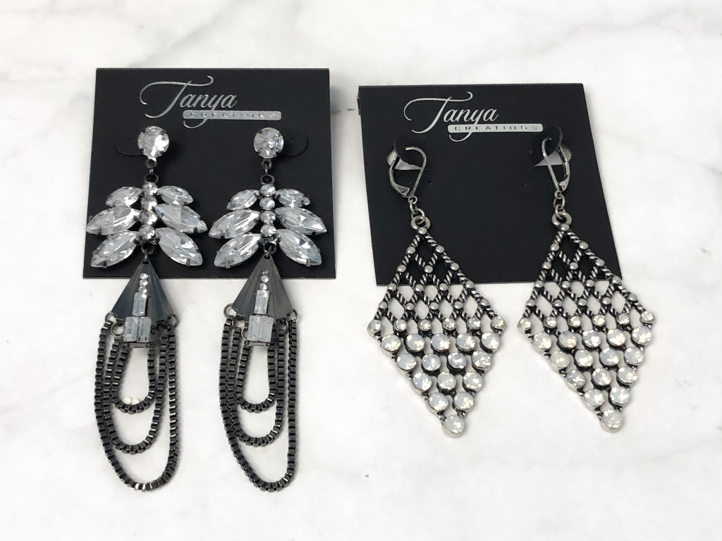 Hematite Statement Glam Earrings   2 Pairs