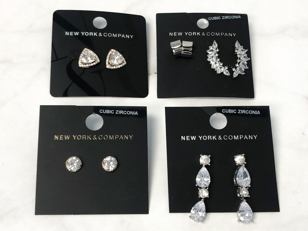 New York & Company CZ Earring Lot   MSRP $70   5 Pairs