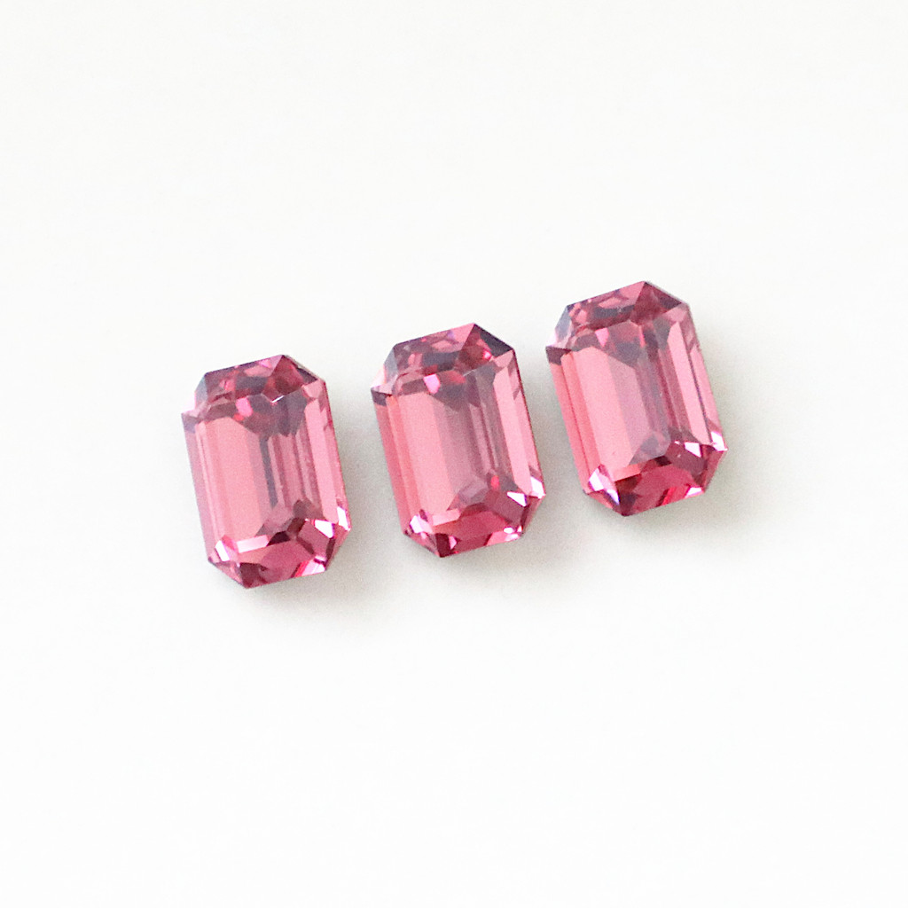 Limited Edition   14mm x 10mm   Octagon   Swarovski Article 4610   Rose Diamond Touch Light   3 Pieces