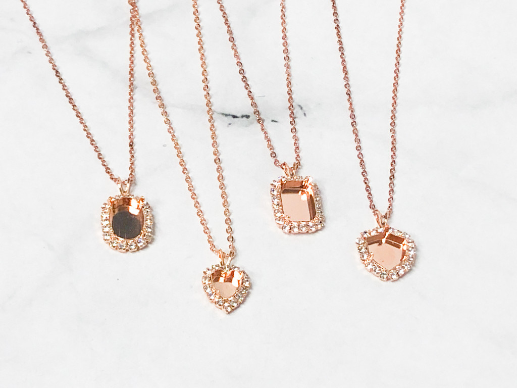 Limited Edition Rose Gold Crystal Halo Necklaces | 4 Pieces