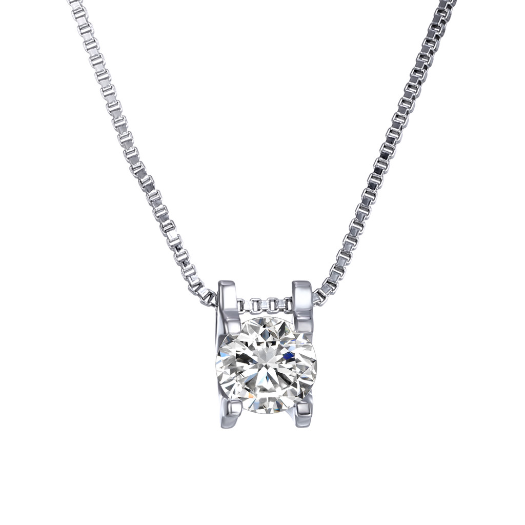 CZ Solitaire Necklace Rhodium