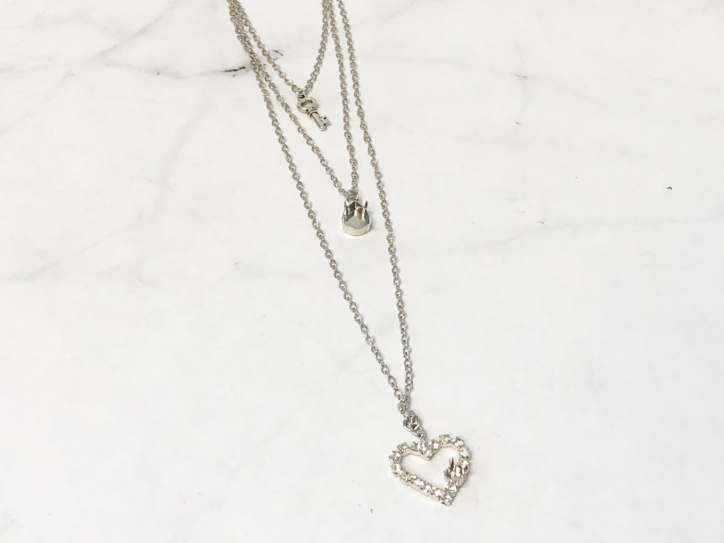 Textured Three Layer Heart and Key Necklace