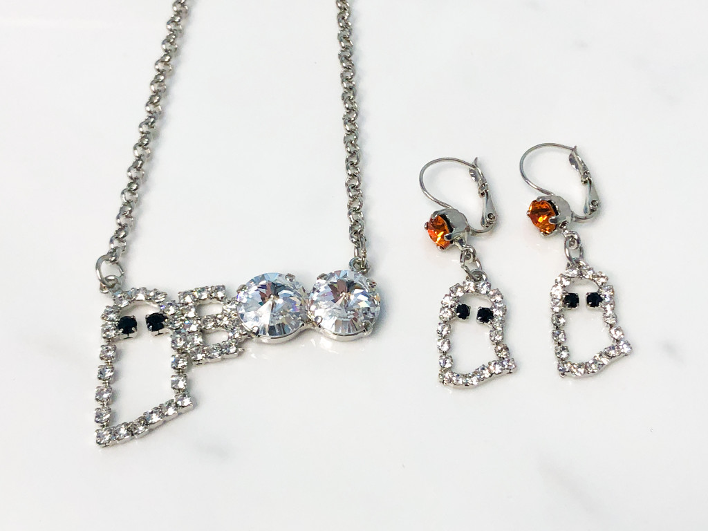 Finished Ghost Earrings and Necklace Set