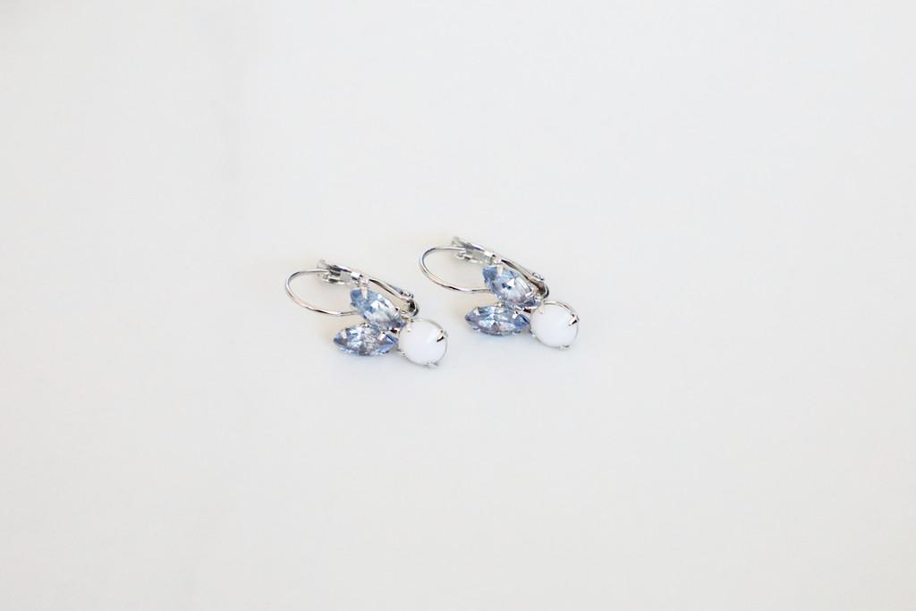 Small Blue Bunny Rhinestone Drop Earrings | One Pair