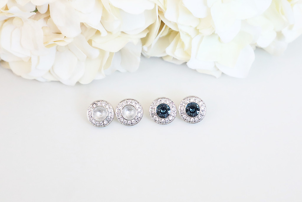 6mm | Crystal Pave Casted Stud Earrings | One Pair