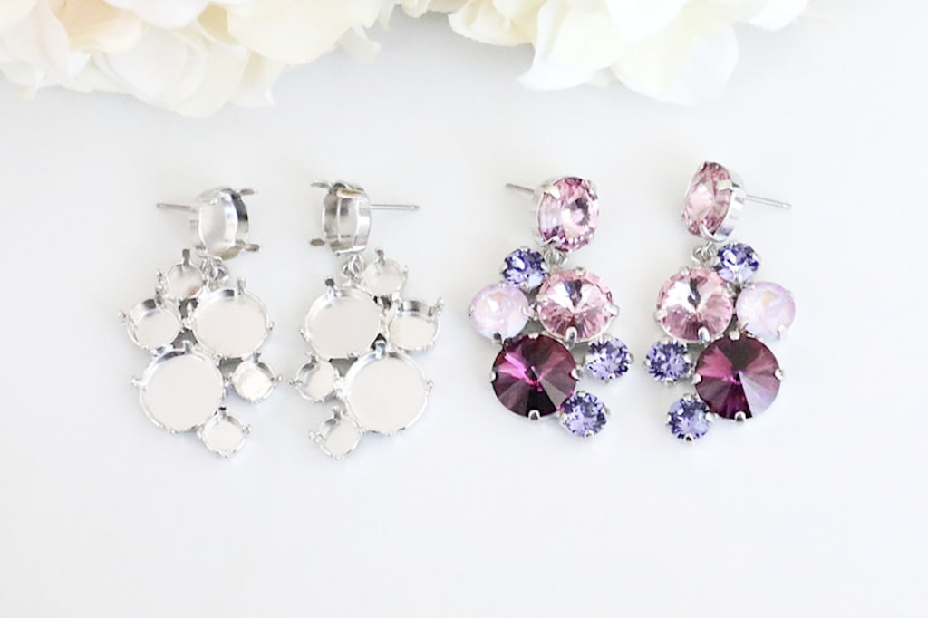 6mm, 8.5mm, 11mm, & 12mm Round | Mixed Cluster Drop Stud Earrings | One Pair