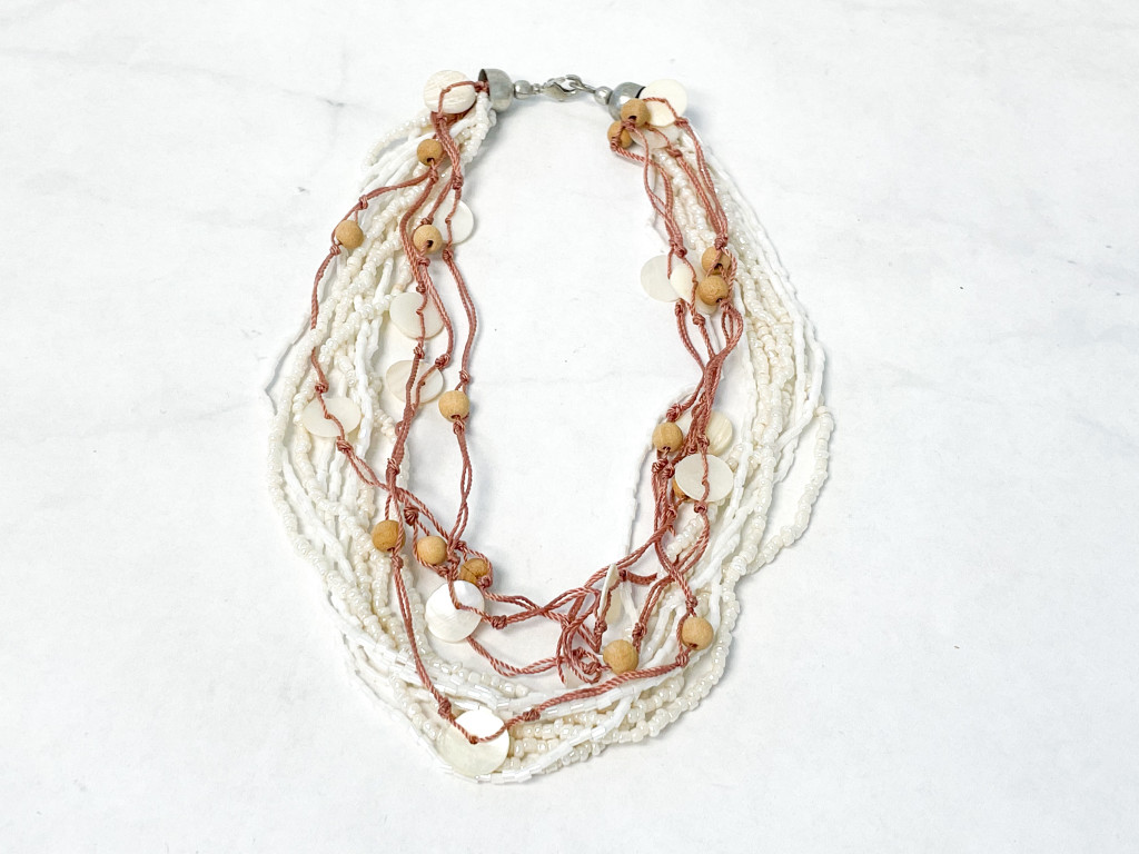 White Beaded Shell Necklace