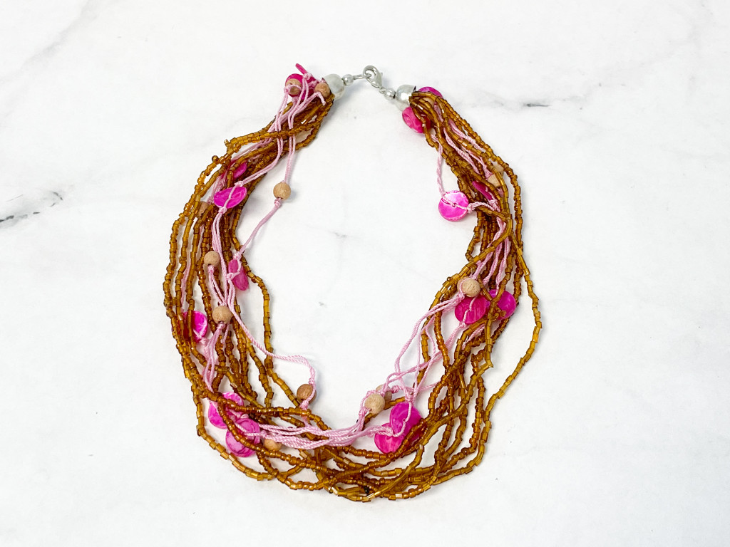 Pink and Brown Beaded Shell Necklace