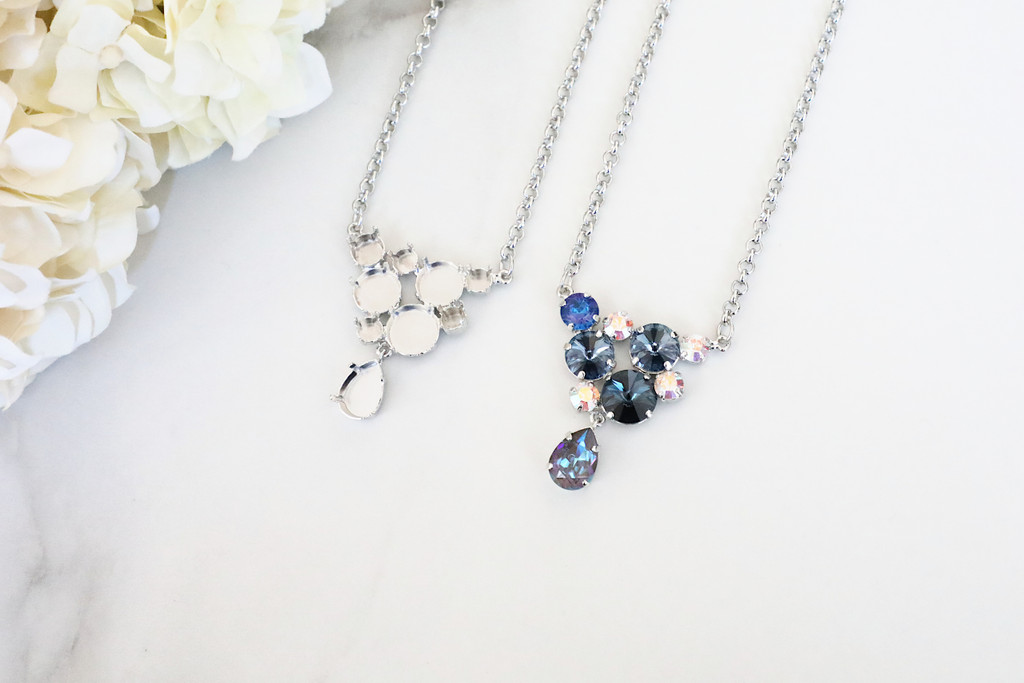 6mm, 8.5mm, 11mm, 12mm Round, & 14mm x 10mm Pear | Mixed Cluster Pendant Necklace | One Piece
