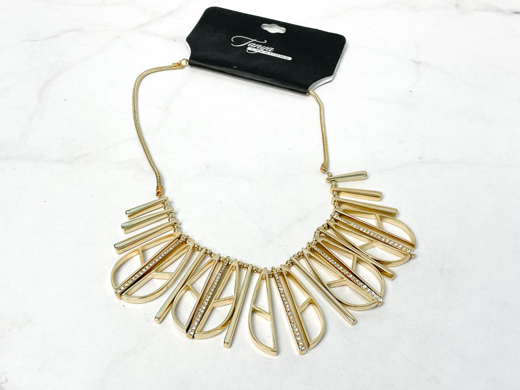 Gold with Crystal Accent Geometric Necklace