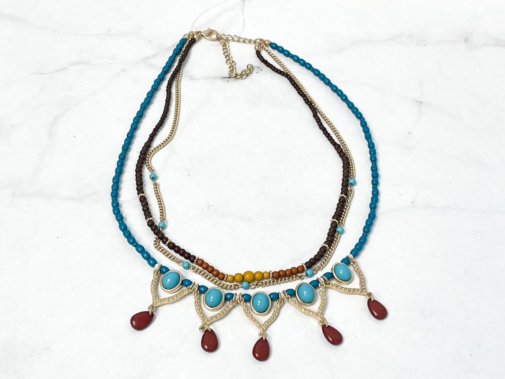 Boho Turquoise Bead Necklace