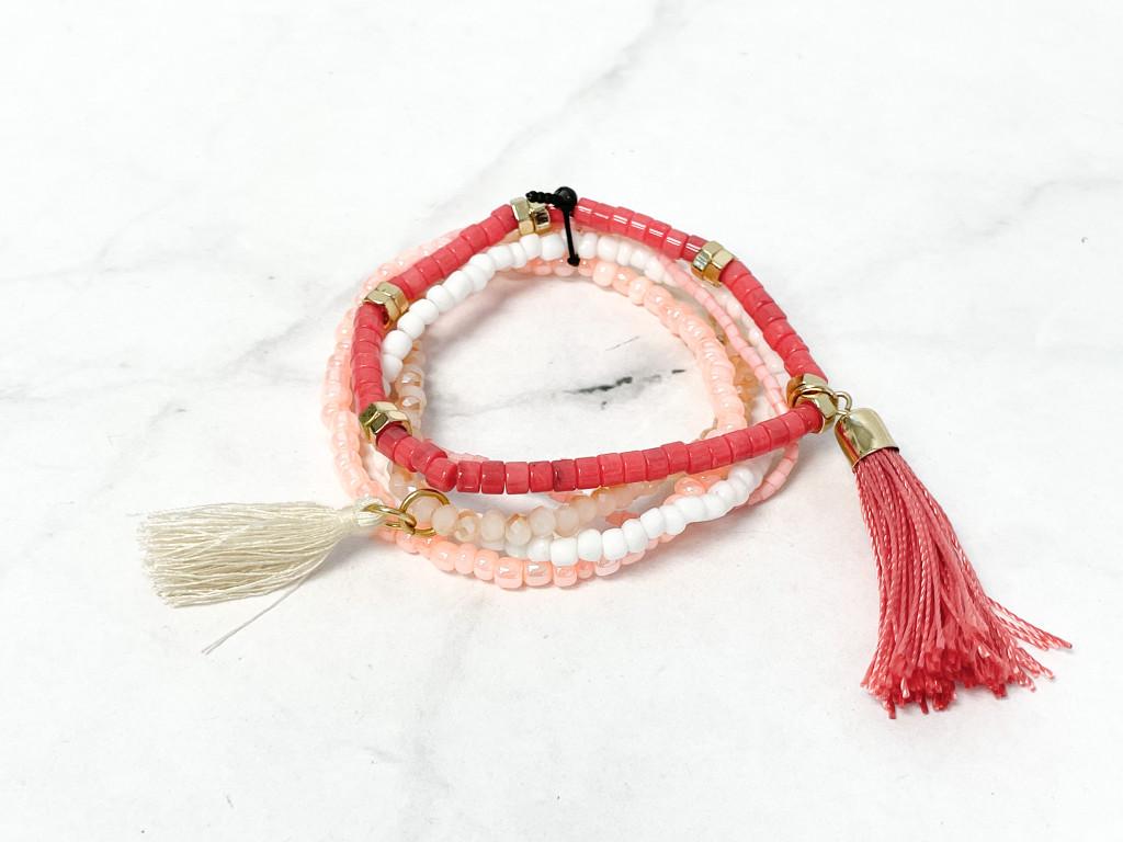 Coral Beaded Bracelet Bundle