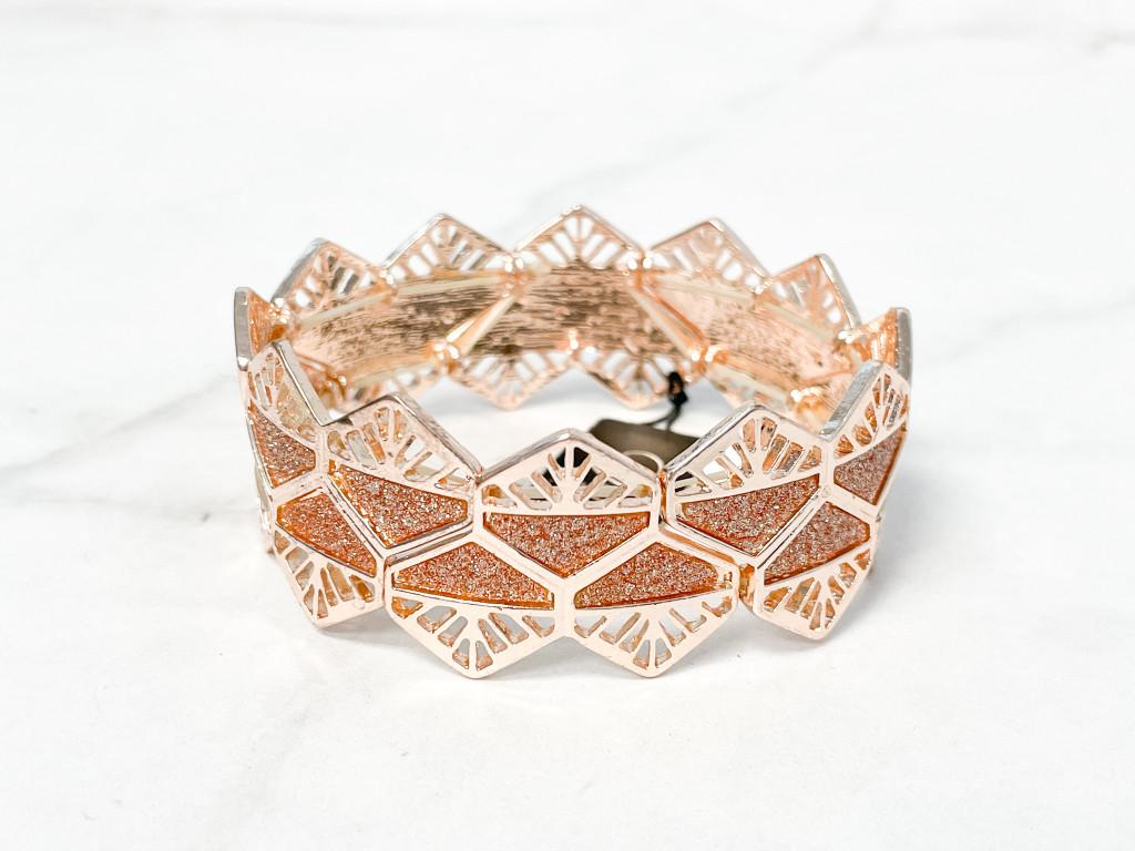 Rose Gold Geometric Stretch Bracelet