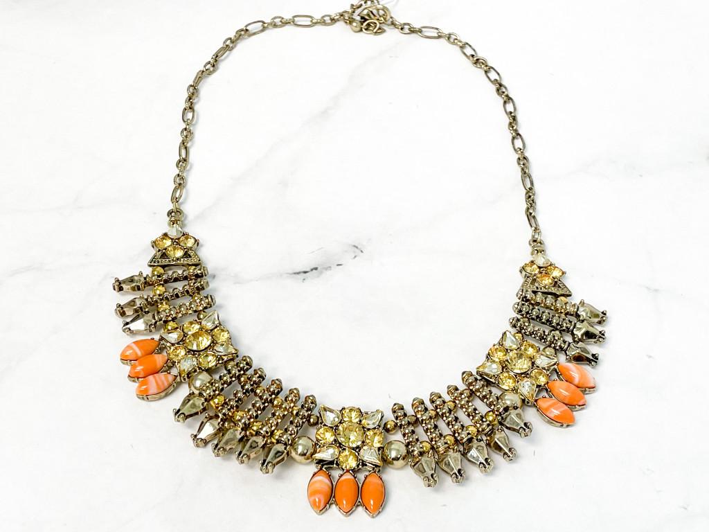 Antique Gold and Orange Statement Necklace