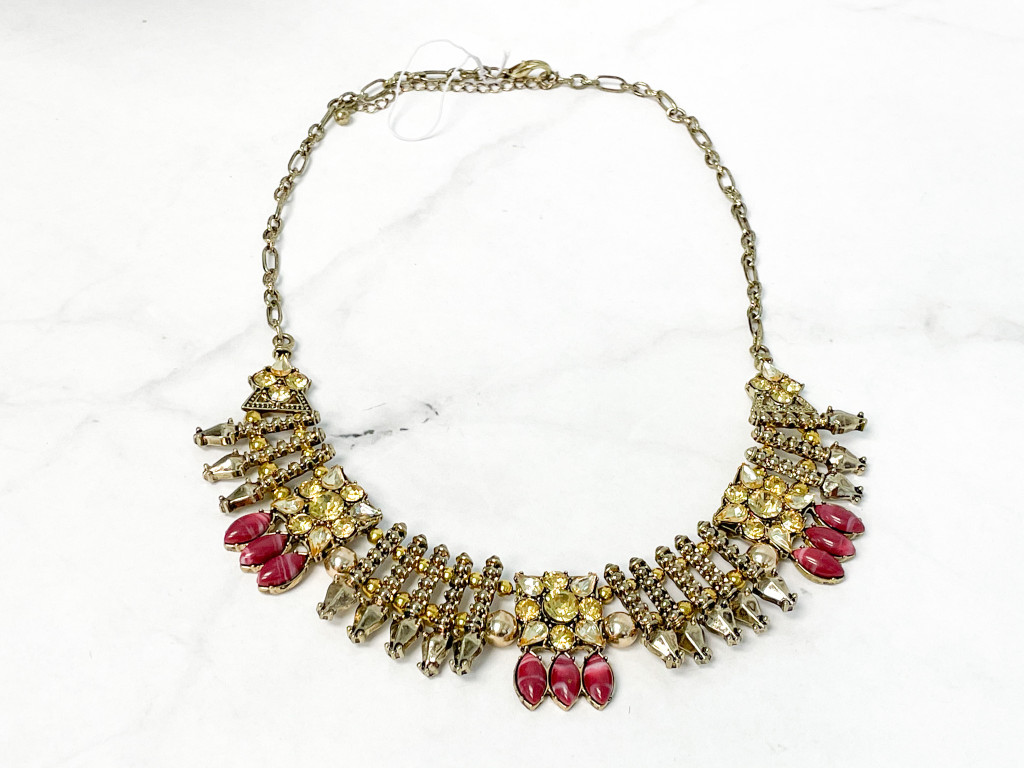 Antique Gold and Pink Statement Necklace