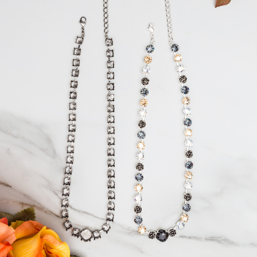 SILVER 8.5mm & 12mm Square | Statement Necklace | TWO Pieces